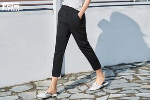 对白2017春夏新款铅笔裤 简约黑色九分休闲裤女 时尚百搭修身裤子