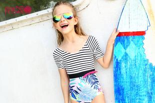 女童泳衣半袖连体式2017夏新款拼接印花条纹游泳衣4084