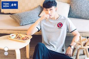 唐狮男装韩版短袖t恤男圆领学生纯棉印花半袖夏