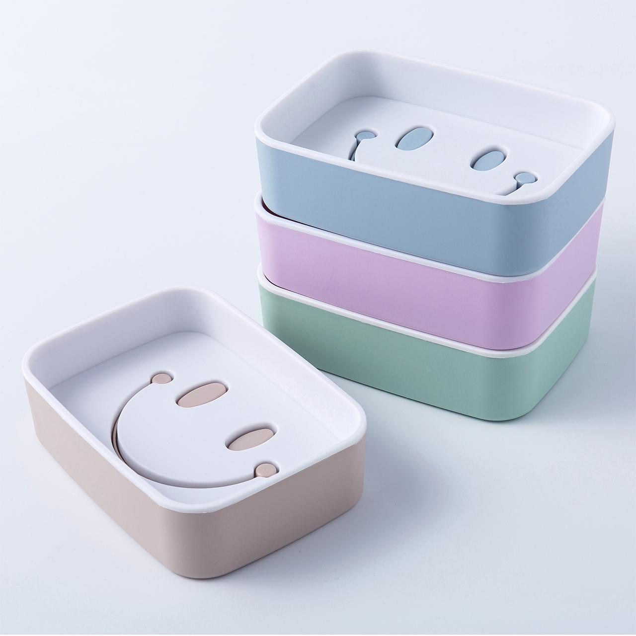 百利莱3个装家用肥皂盒卫生间浴室双层沥水塑料欧式香皂盒肥皂盒