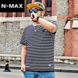 NMAX大码男装潮牌 加肥加大短袖条纹T恤潮胖子宽松半袖百搭体恤衫