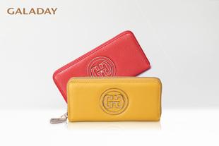[GALADAY/歌黛]头层荔纹牛皮 时尚双G设计 长款钱包