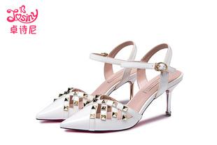 卓诗尼2017夏季新款凉鞋女细跟尖头一字扣带铆钉女鞋夏通勤高跟鞋