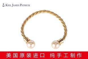美国进口 KJP金色黄铜丝手镯12mm玻璃珍珠手环
