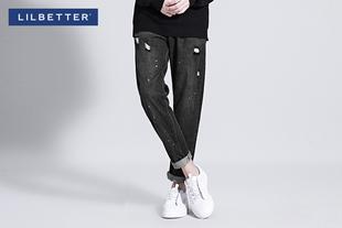 【满198减20】【lilbetter】复古做旧破洞牛仔裤