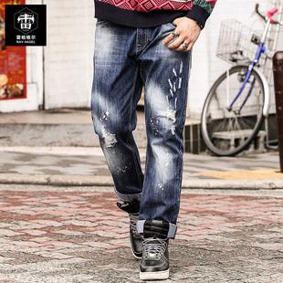 雷哈格尔潮胖子牛仔裤大码长裤秋季