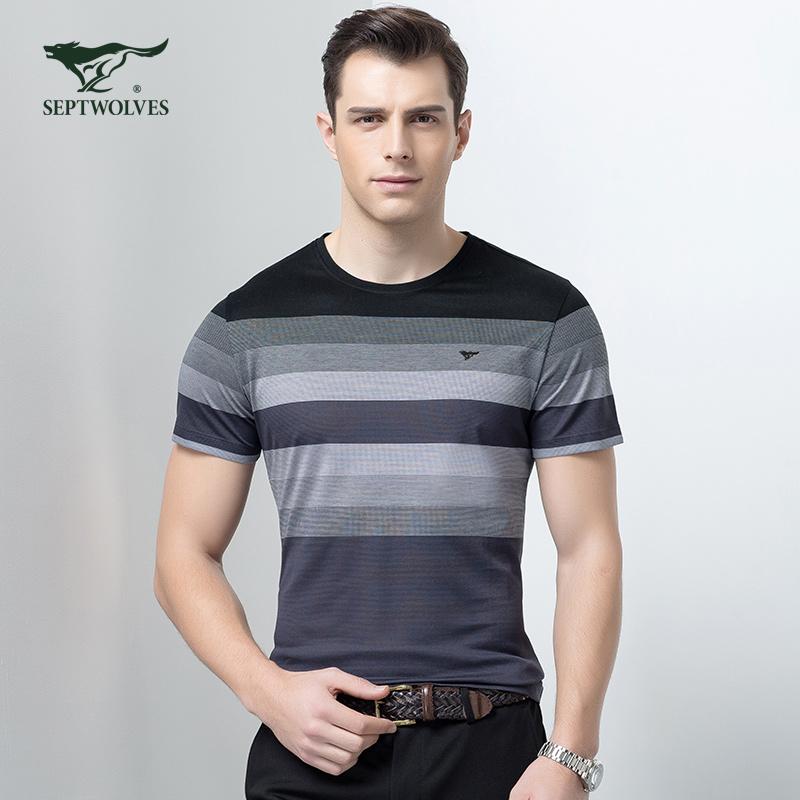 七匹狼圆领短袖T恤夏新款条纹圆领中青年男士【丝光棉】短袖t恤衫