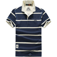 Jeepdon 2020 new short sleeve t-shirt men's Polo stripe cotton thin T-shirt