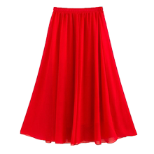 Chiffon long skirt medium length large skirt Bohemian skirt summer beach skirt